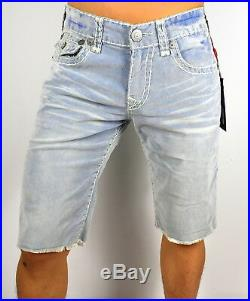 True Religion Ricky Super T Blue Tropics Corduroy Shorts MDBC08729F Size 28