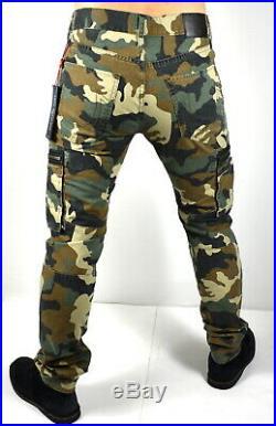 True Religion Rocco Nomad Camo Print Relaxed Skinny Cargo Moto Jeans 101275