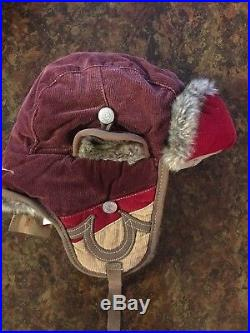 True Religion Winter Hat Faux Fur Ears S/M Aviator Burgundy Brand New With Tags