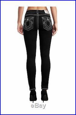 True Religion Women's Big T Halle Super Skinny Stretch Jeans in Body Rinse Black