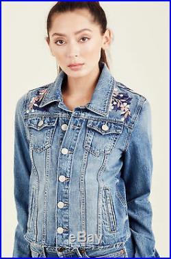 True Religion Women's Embroidered Danni Denim Jean Jacket in Wonderer
