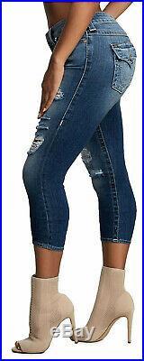 True Religion Women's Halle Super Skinny Fit Stretch Capri Crop Destroyed Jeans