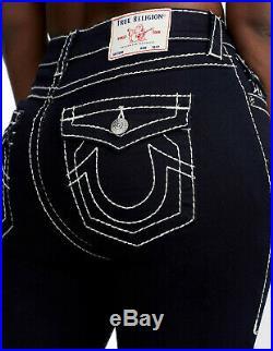 True Religion Women's Jennie Curvy Big T Skinny Stretch Jeans Black Body Rinse