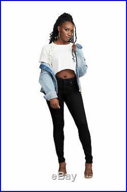 True Religion Women's Jennie Curvy Skinny Stretch Jeans in Way Back Black
