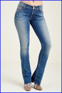 True Religion Women's Jennie Mid Rise Curvy Bootcut Jeans in Rolling Indigo