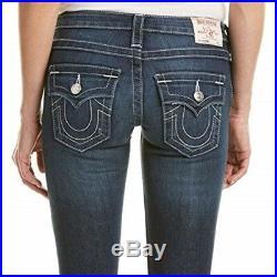 True Religion Women's Julie Skinny Leg with Flap Jeans in Lost Lagoon (27, 28, 30)