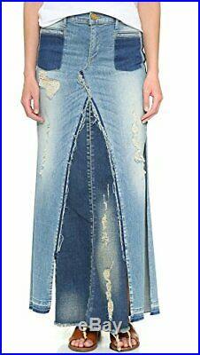 True Religion Women's Pieced Denim Skirt in Indigo Haze Destroyed (24, 25, 26)