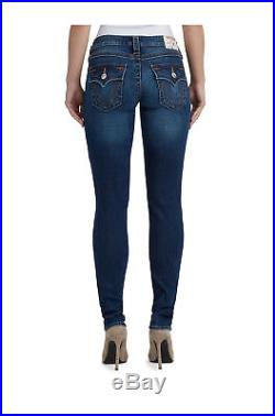 True Religion Women's Super Stretch Skinny Fit Distressed Jeans with Flaps & Rips