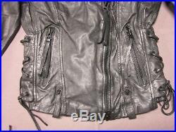 True Religion Womens Dark Grey Metallic Moto Leather Jacket Size Xs X Small New