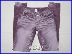 True Religion Womens Skinny Leg Slim Fit Purple Corduroy Jean Pants Size 26 New
