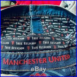 True Religion X Manchester United Mens Trucker Denim Jacket size S $269 NEW