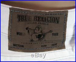 True Religion brand men's JACK cut off shorts optic white grey stitch MQ9W68SZ33