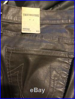 True religion rocco Jeans, Leather Like. Waist 33, Leg 32 Black Bnwt
