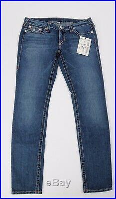 Women's NEW True Religion Jeans Skinny Leg w Flap size 33 Big T Stretch Natural